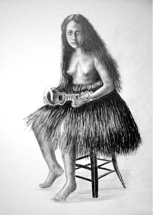 Hawaiian Girl Greeting Card featuring the painting 1919 Hawaiian Girl by Paul Sandilands
