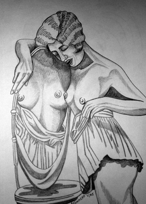 Deco Greeting Card featuring the drawing 1920s Women Series 8 by Tammera Malicki-Wong