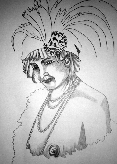 Deco Greeting Card featuring the drawing 1920s Women Series 9 by Tammera Malicki-Wong