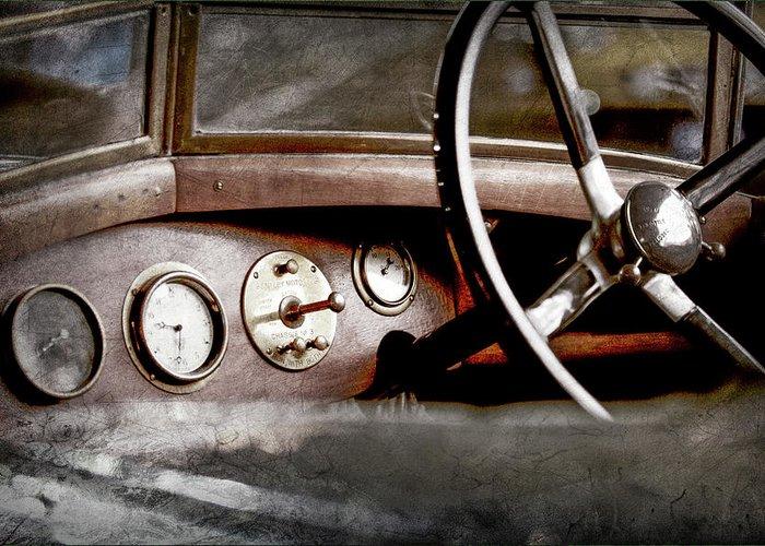 1921 Bentley Steering Wheel Greeting Card featuring the photograph 1921 Bentley Steering Wheel -0454ac by Jill Reger