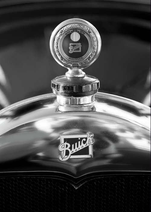 1928 Buick Greeting Card featuring the photograph 1928 Buick Hood Ornament 2 by Jill Reger