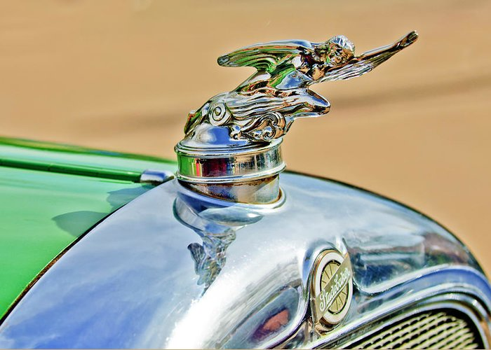 1928 Studebaker Greeting Card featuring the photograph 1928 Studebaker Hood Ornament by Jill Reger