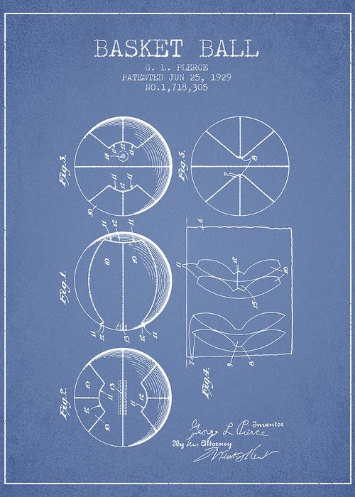 Basketball Greeting Card featuring the digital art 1929 Basket Ball Patent - Light Blue by Aged Pixel