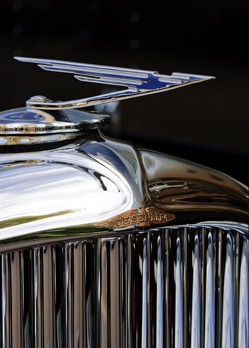 1929 Duesenberg Model J Clear Vision Sedan Greeting Card featuring the photograph 1929 Duesenberg Model J Hood Ornament by Jill Reger