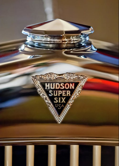 1929 Hudson Cabriolet Greeting Card featuring the photograph 1929 Hudson Cabriolet Hood Ornament by Jill Reger