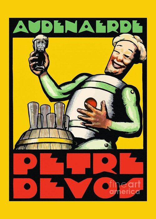 1930 audenaerde petre devos beer advert retro style greeting card greeting card featuring the painting 1930 audenaerde petre devos beer advert retro style by heidi de m4hsunfo