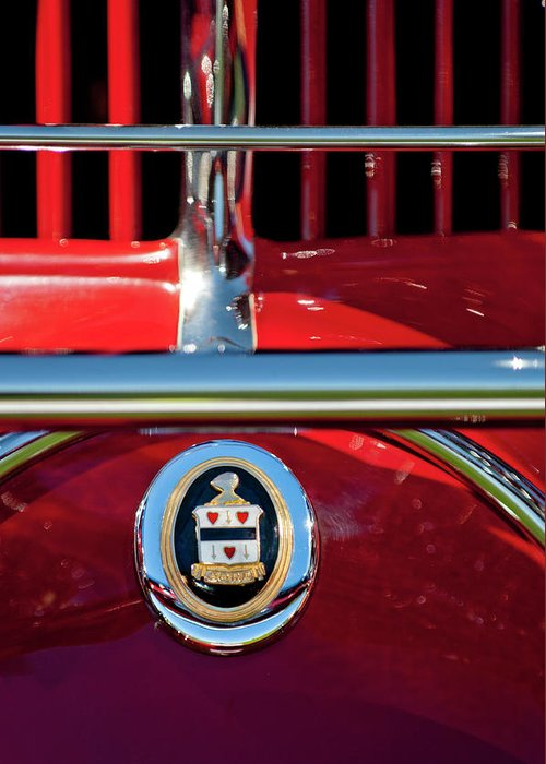 1930 Cord L29 Phaeton Convertible Greeting Card featuring the photograph 1930 Cord L29 Phaeton Emblem by Jill Reger