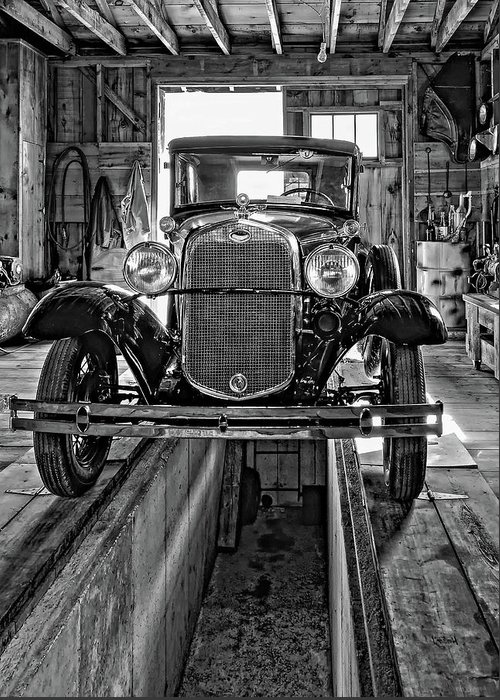 Oil Greeting Card featuring the photograph 1930 Model T Ford Monochrome by Steve Harrington
