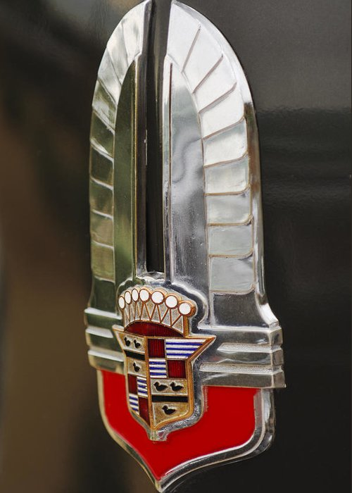 1930's Cadillac Emblem Greeting Card featuring the photograph 1930's Cadillac Emblem by Jill Reger