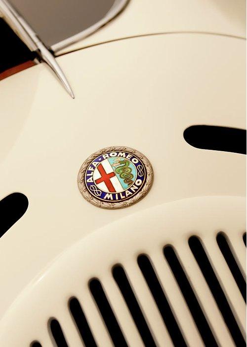 1931 Alfa Romeo 6c 1750 Gran Sport Aprile Spider Corsa Greeting Card featuring the photograph 1931 Alfa Romeo 6c 1750 Gran Sport Aprile Spider Corsa Hood Emblem by Jill Reger