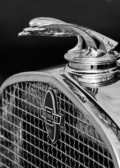 1931 Chevrolet Greeting Card featuring the photograph 1931 Chevrolet Hood Ornament 4 by Jill Reger