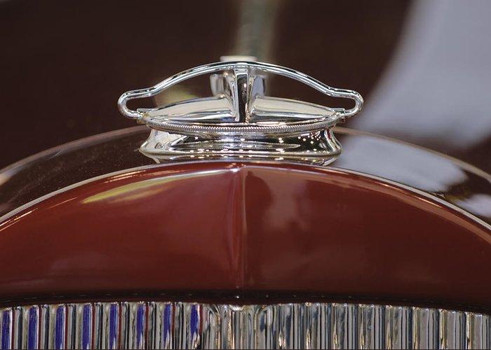 1931 Packard 840 Roadster Greeting Card featuring the photograph 1931 Packard 840 Roadster Hood Ornament by Jill Reger