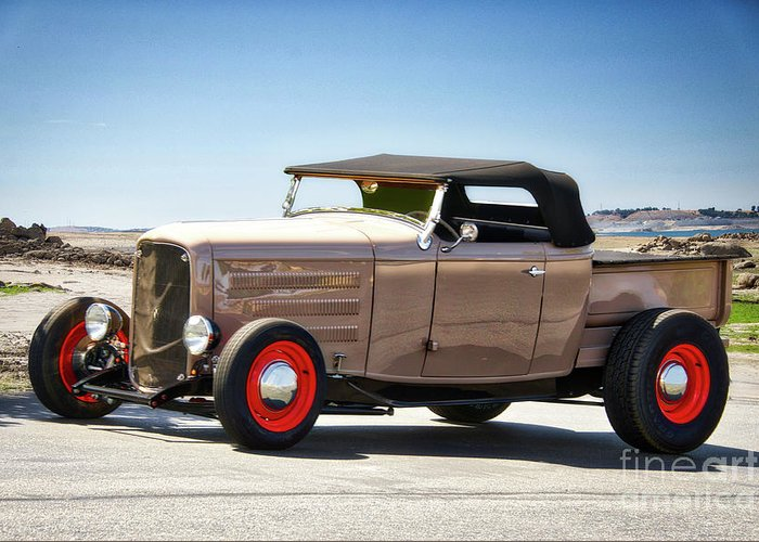 Auto Greeting Card featuring the photograph 1932 Ford 'original Rod' Roadster Pickup by Dave Koontz