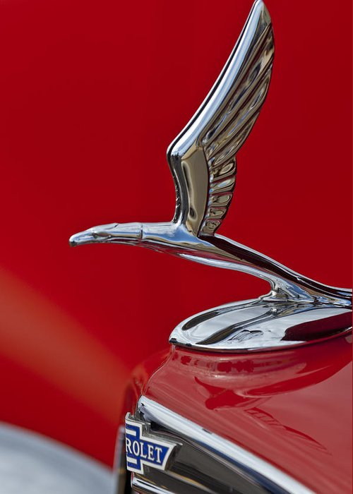 1933 Chevrolet Coupe Greeting Card featuring the photograph 1933 Chevrolet Coupe Hood Ornament 2 by Jill Reger