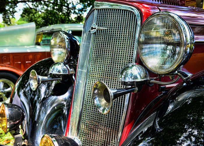 1934 Chevrolet Front Enc Greeting Card featuring the photograph 1934 Chevrolet Head Lights by Paul Ward