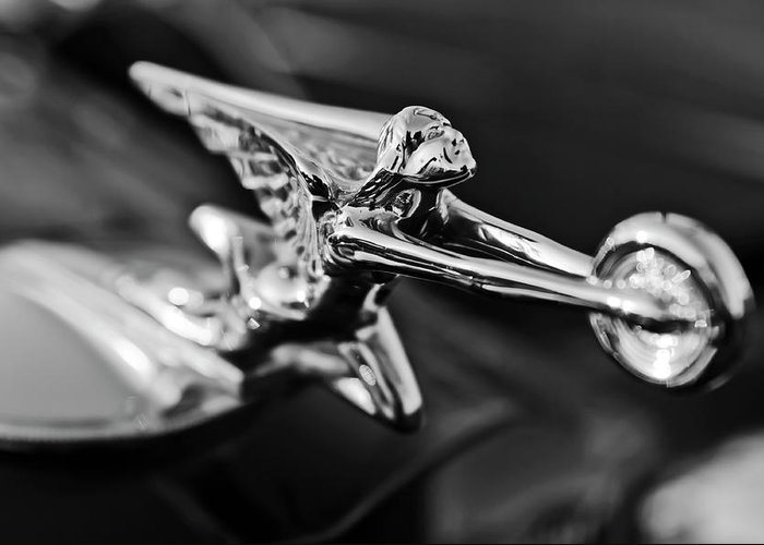 1934 Packard Greeting Card featuring the photograph 1934 Packard Hood Ornament 2 by Jill Reger