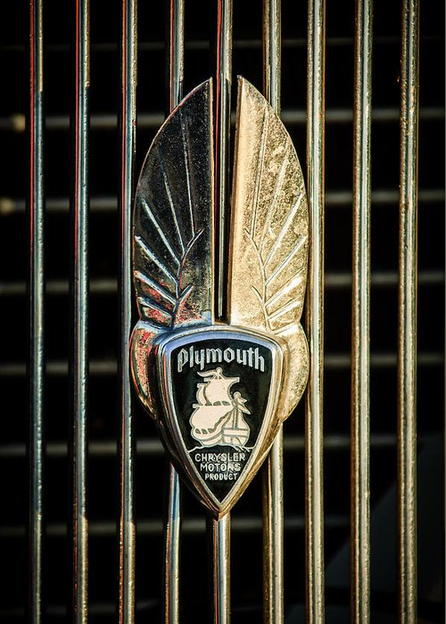 1934 Plymouth Emblem Greeting Card featuring the photograph 1934 Plymouth Emblem by Jill Reger