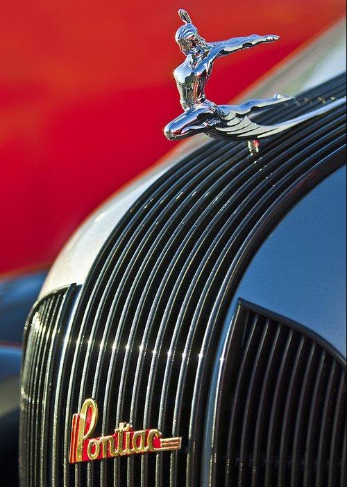 1935 Pontiac Sedan Greeting Card featuring the photograph 1935 Pontiac Sedan Hood Ornament by Jill Reger