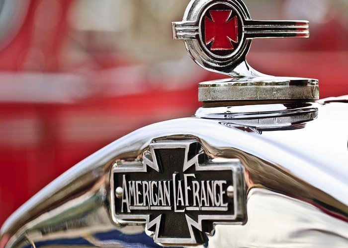 1938 American Lafrance Type 400 Greeting Card featuring the photograph 1936 American Lafrance Fire Truck Hood Ornament by Jill Reger