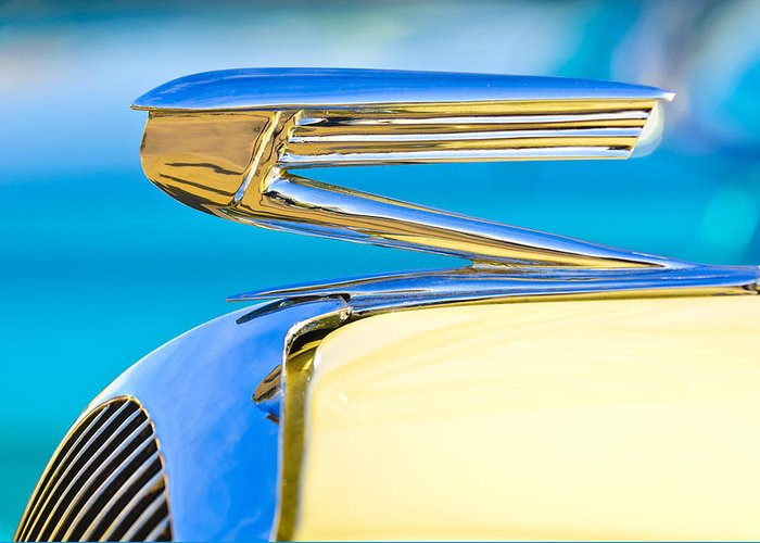 1936 Buick 40 Series Greeting Card featuring the photograph 1936 Buick 40 Series Hood Ornament by Jill Reger