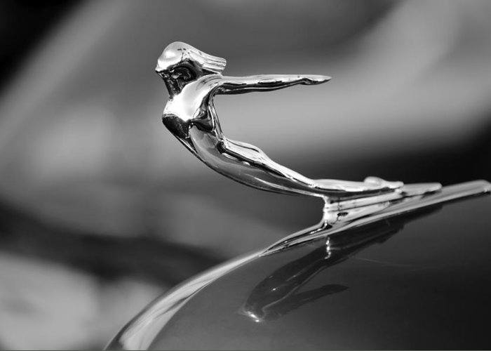 1936 Cadillac Greeting Card featuring the photograph 1936 Cadillac Hood Ornament 3 by Jill Reger