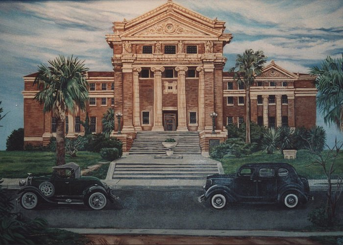 Architecture Greeting Card featuring the painting 1936 Era Nueces County Courthouse by Diann Baggett