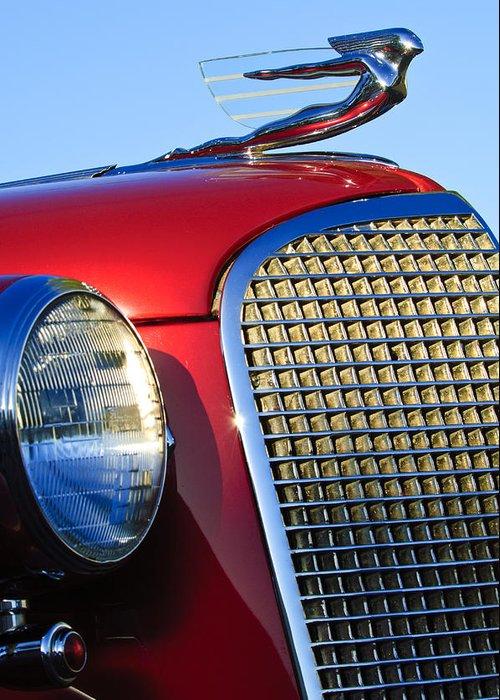 1937 Cadillac V8 Greeting Card featuring the photograph 1937 Cadillac V8 Hood Ornament 2 by Jill Reger