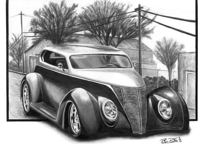 1937 For Sedan Greeting Card featuring the drawing 1937 Ford Sedan by Peter Piatt