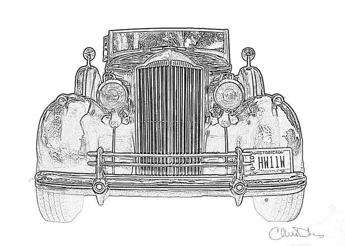 1937 Packard Convertible Coupe Roaster With Rumble Seat Black And White  Drawing Greeting Card