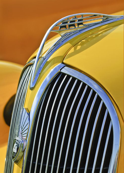 1937 Plymouth Greeting Card featuring the photograph 1937 Plymouth Hood Ornament 2 by Jill Reger