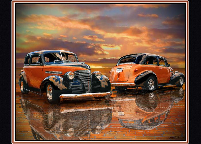 Street Rod Greeting Card featuring the painting 1939 Chevy by John Breen