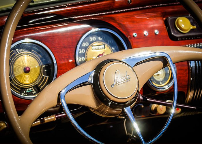 Car Greeting Card featuring the photograph 1941 Lincoln Continental Cabriolet V12 Steering Wheel by Jill Reger