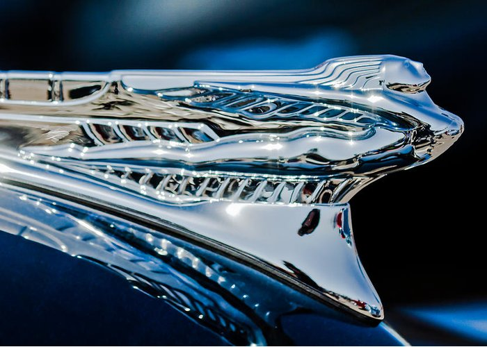 1946 Desoto Greeting Card featuring the photograph 1946 Desoto Hood Ornament by Jill Reger