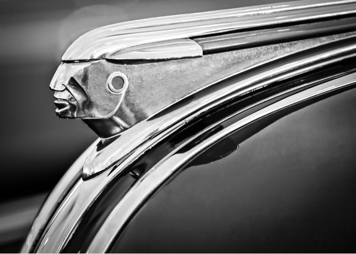 1948 Pontiac Chief Greeting Card featuring the photograph 1948 Pontiac Chief Hood Ornament 2 by Jill Reger