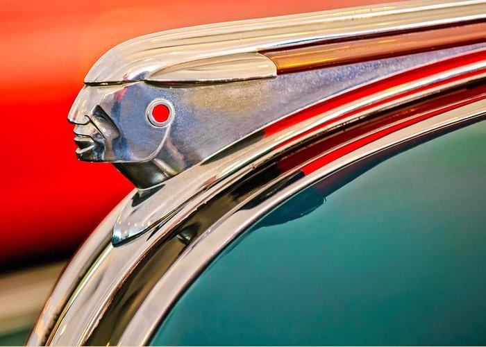 1948 Pontiac Streamliner Greeting Card featuring the photograph 1948 Pontiac Chief Hood Ornament by Jill Reger