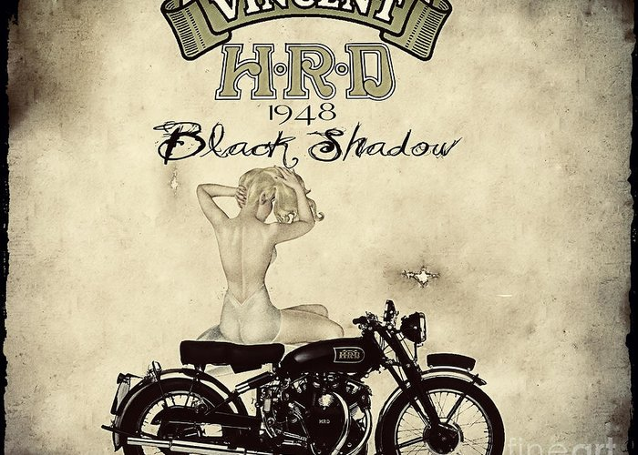 Motorcycle Greeting Card featuring the digital art 1948 Vincent Black Shadow by Cinema Photography
