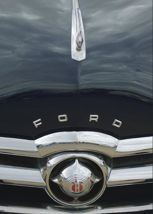 1949 Ford Greeting Card featuring the photograph 1949 Ford Hood Ornament 4 by Jill Reger