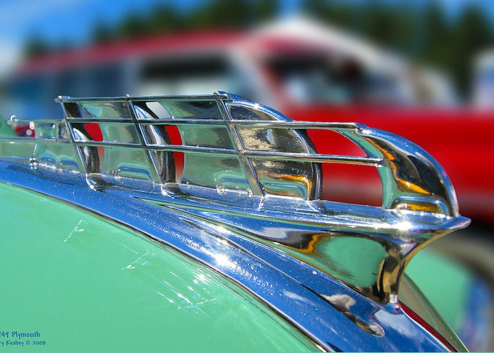 Auto Greeting Card featuring the photograph 1949 Plymouth Hood Ornament by Larry Keahey