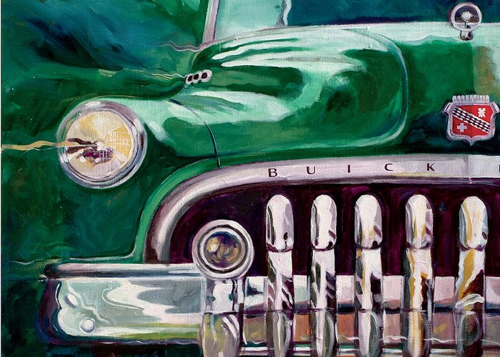 Transportation Greeting Card featuring the painting 1950 Buick Roadmaster by Ron Patterson