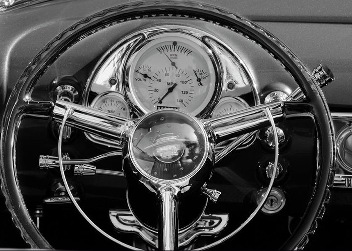 1950 Oldsmobile Rocket 88 Greeting Card featuring the photograph 1950 Oldsmobile Rocket 88 Steering Wheel 4 by Jill Reger