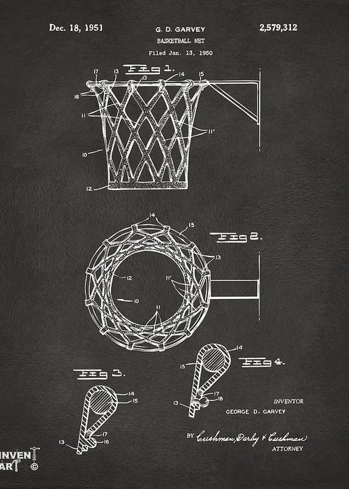 Basketball Greeting Card featuring the drawing 1951 Basketball Net Patent Artwork - Gray by Nikki Marie Smith