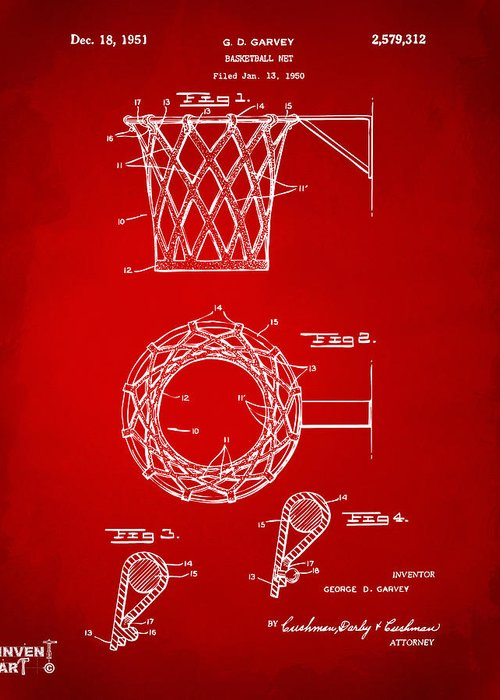 Basketball Greeting Card featuring the drawing 1951 Basketball Net Patent Artwork - Red by Nikki Marie Smith