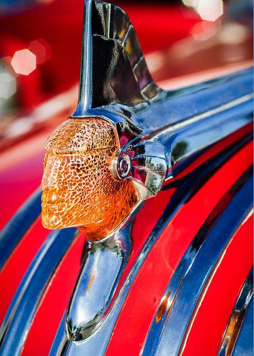 1951 Pontiac Chief Hood Ornament Greeting Card featuring the photograph 1951 Pontiac Chief Hood Ornament by Jill Reger