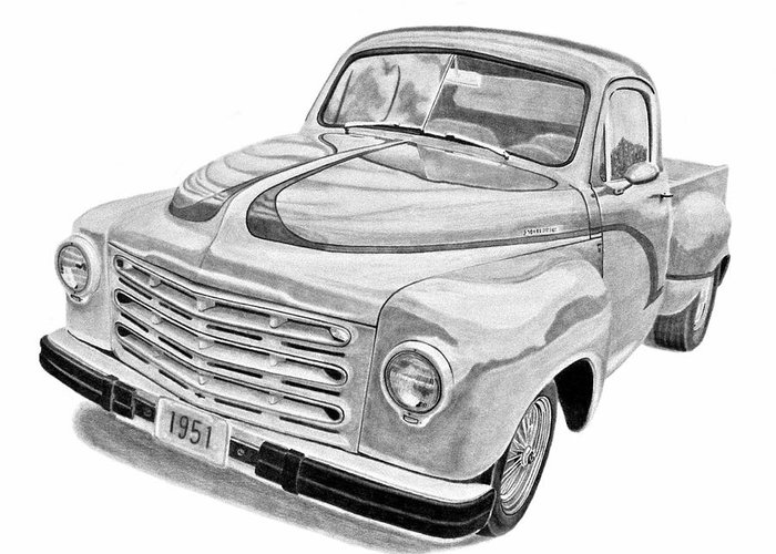 1951 Studebaker Pickup Truck Greeting Card featuring the drawing 1951 Studebaker Pickup Truck by Daniel Storm