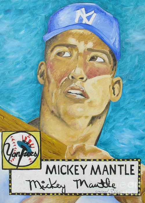 Mickey Mantle Greeting Card featuring the painting 1952 Mickey Mantle Rookie Card Original Painting by Joseph Palotas