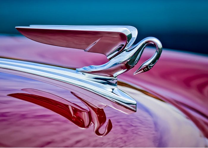 1952 Packard 400 Hood Ornament Greeting Card featuring the photograph 1952 Packard 400 Hood Ornament by Jill Reger