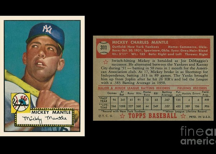 1952 Topps Mickey Mantle Rookie Card Greeting Card