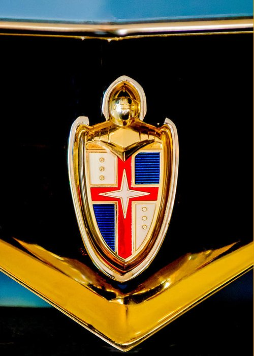 1953 Lincoln Emblem Greeting Card featuring the photograph 1953 Lincoln Capri Emblem by Jill Reger