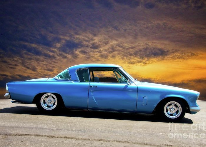 Auto Greeting Card featuring the photograph 1953 Studebaker 'blue Streak' Commander by Dave Koontz