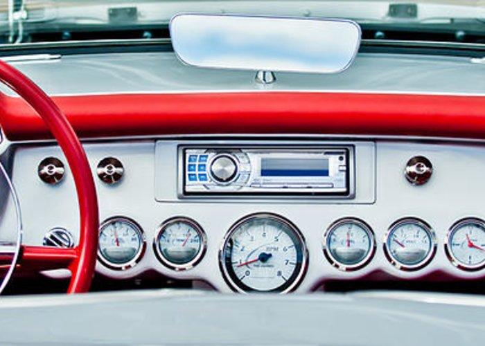 1954 Chevrolet Corvette Dashboard Greeting Card featuring the photograph 1954 Chevrolet Corvette Dashboard by Jill Reger